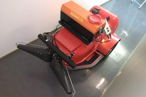Mobile robot for disinfecting with the small sprayer at inside